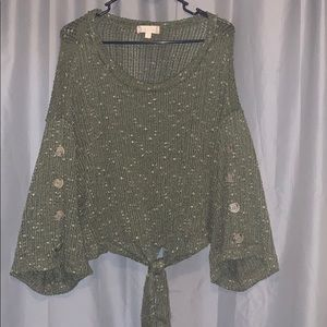 Olive/Army Green Crochet Bell Sleeve Button Top